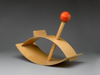 "Gloria Caranica (American, born 1931). ""Rocking Beauty"" Hobby Horse, designed 1964-1966. Plywood, solid wood, pigment, 20 1/4 x 25 1/4 x 11 3/4 in. (51.4 x 64.1 x 29.8 cm). Brooklyn Museum, Bequest of Laura L. Barnes and gift of Mrs. James F. Bechtold, by exchange, 2007.38. Creative Commons-BY"