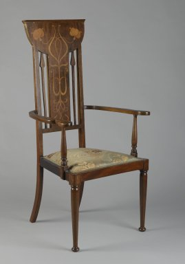 Armchair, ca. 1900. Mahogany, various light woods, modern upholstery, 45 x 20 3/4 x 17 1/2 in. (114.3 x 52.7 x 44.5 cm). Brooklyn Museum, Bequest of Dr. Eleanor Z. Wallace, 2007.40.1. Creative Commons-BY