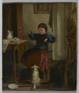 John Barnard Whittaker (American, 1836-1926). Girl and Dog, ca. 1860s. Oil on canvas, Image: 11 1/2 x 9 1/2 in. (29.2 x 24.1 cm). Brooklyn Museum, Gift of Dr. Clark S. Marlor, 2007.52.2