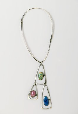 Art Smith (American, 1917-1982). Triangle Necklace, ca. 1969. Silver, turquoise, lapis lazuli, rhodochrosite, 16 1/8 x 5 1/8 x 1/2 in. (41 x 13 x 1.3 cm). Brooklyn Museum, Gift of Charles L. Russell, 2007.61.3. Creative Commons-BY