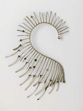 Art Smith (American, 1917-1982). Metallic Boa Necklace, ca. 1964. Silver, eight hardstones, 14 1/2 x 8 x 1 5/8 in. (36.8 x 20.3 x 4.1 cm). Brooklyn Museum, Gift of Charles L. Russell, 2007.61.5. Creative Commons-BY
