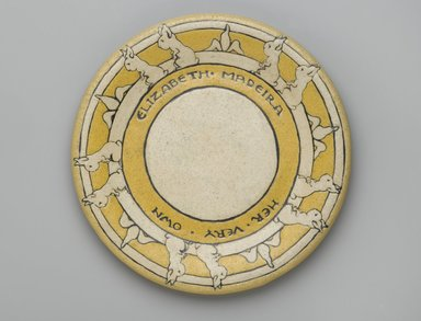 "RB. Plate, ""Elizabeth Medeira/Her Very Own,"" 1910. Glazed earthenware, Diameter: 7 5/8 in. (19.4 cm). Brooklyn Museum, Gift of Joseph F. McCrindle in memory of J. Fuller Feder, by exchange, 2007.7.1. Creative Commons-BY"