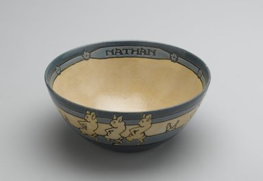 """AM. Bowl, """"Nathan,"""" 1914. Glazed earthenware, Diameter: 5 1/2 in. (14 cm). Brooklyn Museum, Gift of Joseph F. McCrindle in memory of J. Fuller Feder, by exchange, 2007.7.2. Creative Commons-BY"""