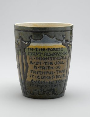 "SG. Mug, ""In the Forest...,"" 1912. Glazed earthenware, Height: 3 7/8 in. (9.8 cm). Brooklyn Museum, Gift of Joseph F. McCrindle in memory of J. Fuller Feder, by exchange, 2007.7.4. Creative Commons-BY"