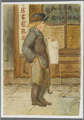 Karl L. H. Mueller (American, born Germany, 1820-1887). Newspaper Boy, 1864. Watercolor over black media underdrawing, 5 x 3 1/2 in. (12.7 x 8.9 cm). Brooklyn Museum, Gift of the American Art Council, 2008.18.10. Creative Commons-BY