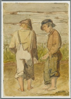 Karl L. H. Mueller (American, born Germany, 1820-1887). Two Street Urchins, 1864. Watercolor over black media underdrawing, 5 x 3 1/2 in. (12.7 x 8.9 cm). Brooklyn Museum, Gift of the American Art Council, 2008.18.11. Creative Commons-BY