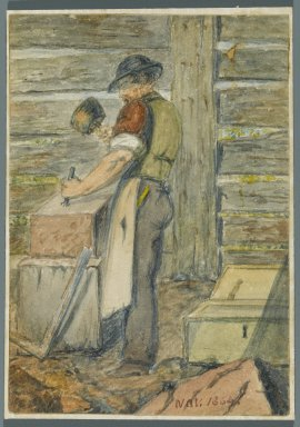 Karl L. H. Mueller (American, born Germany, 1820-1887). Stone Worker, 1864. Watercolor over black media underdrawing, 5 x 3 1/2 in. (12.7 x 8.9 cm). Brooklyn Museum, Gift of the American Art Council, 2008.18.3. Creative Commons-BY