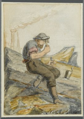 Karl L. H. Mueller (American, born Germany, 1820-1887). Stone Worker, 1864. Watercolor over black media underdrawing, 5 x 3 1/2 in. (12.7 x 8.9 cm). Brooklyn Museum, Gift of the American Art Council, 2008.18.4. Creative Commons-BY