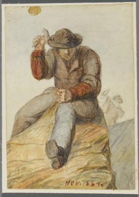 Karl L. H. Mueller (American, born Germany, 1820-1887). Stone Worker, 1864. Watercolor over black media underdrawing, 5 x 3 1/2 in. (12.7 x 8.9 cm). Brooklyn Museum, Gift of the American Art Council, 2008.18.5. Creative Commons-BY
