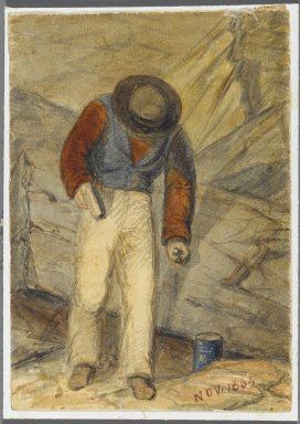 Karl L. H. Mueller (American, born Germany, 1820-1887). Stone Worker, 1864. Watercolor over black media underdrawing, 5 x 3 1/2 in. (12.7 x 8.9 cm). Brooklyn Museum, Gift of the American Art Council, 2008.18.6. Creative Commons-BY