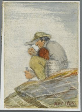 Karl L. H. Mueller (American, born Germany, 1820-1887). Stone Worker, 1864. Watercolor over black media underdrawing, 5 x 3 1/2 in. (12.7 x 8.9 cm). Brooklyn Museum, Gift of the American Art Council, 2008.18.7. Creative Commons-BY
