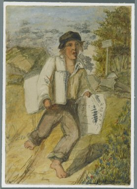 Karl L. H. Mueller (American, born Germany, 1820-1887). Newspaper Boy, 1864. Watercolor over black media underdrawing, 5 x 3 1/2 in. (12.7 x 8.9 cm). Brooklyn Museum, Gift of the American Art Council, 2008.18.9. Creative Commons-BY