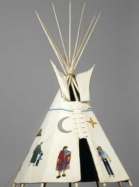 "Teri Greeves (Kiowa, Native American, born 1970). 21st Century Traditional: Beaded Tipi, 2010. Brain tanned deer hide, charlotte cut glass beads, seed beads, bugle beads, glass beads, sterling silver beads, pearls, shell, raw diamonds, hand stamped sterling silver, hand stamped copper, cotton cloth, nylon ""sinew"" rope, pine, poplar, bubinga, includes base: 46 x 29 x 32 1/2 in. (116.8 x 73.7 x 82.6 cm). Brooklyn Museum, Florence B. and Carl L. Selden Fund, 2008.28. Creative Commons-BY"