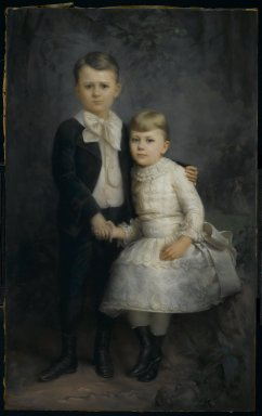 George Gerhard (American, born Germany, 1830-1902). Portrait of Two Children, 1891. Pastel on paper mounted to canvas, 58 1/4 x 38 3/4 in. (148 x 98.4 cm). Brooklyn Museum, Gift of Edgar Harden, 2008.2