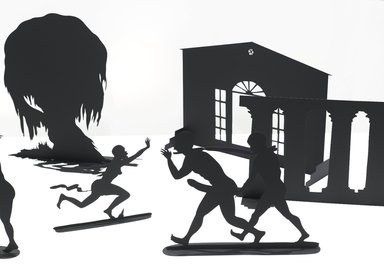 Kara Walker (American, born 1969). Burning African Village Play Set with Big House and Lynching, 2006. Painted laser-cut steel, 24 x 38 1/4 x 90 in. (61 x 97.2 x 228.6 cm). Brooklyn Museum, Purchased with funds given by John and Barbara Vogelstein and Stephanie and Tim Ingrassia, 2008.53.1a-v. © Kara Walker; Courtesy of Sikkema Jenkins & Co., New York