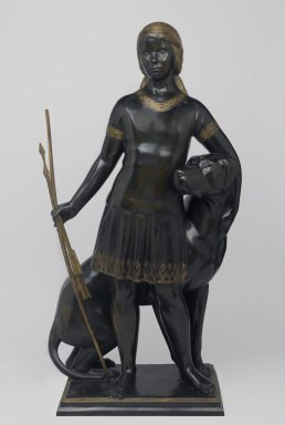 Paul Howard Manship (American, 1885-1966). Vivian St. George and Her Dog, 1924. Bronze, parcel gilt, 43 1/2 x 24 x 16 in. (110.5 x 61 x 40.6 cm). Brooklyn Museum, Gift of the American Art Council and Dick S. Ramsay Fund, 2008.68. © Estate of Paul Howard Manship