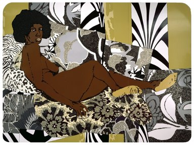 Mickalene Thomas (American, born 1971). A Little Taste Outside of Love, 2007. Acrylic, enamel and rhinestones on wood panel, Overall: 108 x 144 in. (274.3 x 365.8 cm). Brooklyn Museum, Gift of Giulia Borghese and Designated Purchase Fund, 2008.7a-c. © Mickalene Thomas
