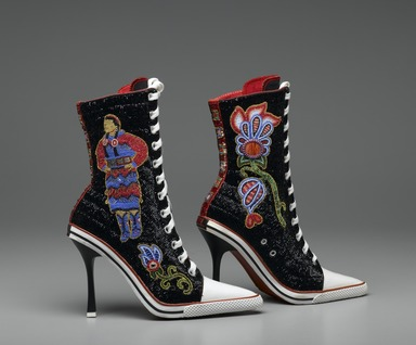 Teri Greeves (Kiowa, Native American, born 1970). Great Lakes Girls, 2008. Glass beads, bugle beads, Swarovski crystals, sterling silver stamped conchae, spiny oyster shell cabochons, canvas high-heeled sneakers, each: 11 1/2 x 9 x 3 in. (29.2 x 22.9 x 7.6 cm). Brooklyn Museum, Gift of Stanley J. Love, by exchange, 2009.1a-b. Creative Commons-BY