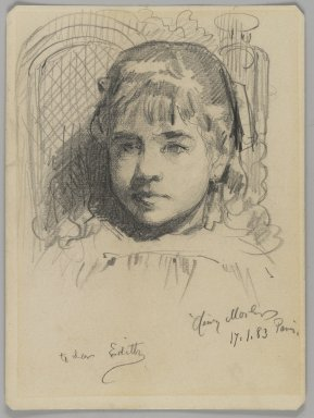 Henry Mosler (American, 1841-1920). Portrait of the Artist's Daughter, January 17, 1883. Graphite on medium, cream, wove paper, Sheet: 6 3/16 x 4 5/8 in. (15.7 x 11.7 cm). Brooklyn Museum, Joseph F. McCrindle Collection, 2009.20.5