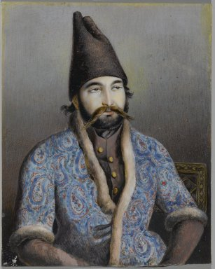 possibly Abu'l Hasan Ghaffari, Sani' al-Mulk (active, 1814-1866). Portrait of a Nobleman or Royal Figure (Possibly Muhammad Shah Qajar), first half 19th century. Ink and opaque watercolor on ivory or shell, 5 3/8 x 4 1/4 in. (13.7 x 10.8 cm). Brooklyn Museum, Gift of the Asian Art Council in memory of Robert Dickes, 2009.21. Creative Commons-BY