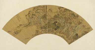 Chu Xun (Chinese). Visiting a Friend on Pine Mountain, 1561. Ink and color on gold surfaced paper, 6 7/8 x 21 3/4 in. (17.4 x 55.2 cm). Brooklyn Museum, Purchase gift of Carol Mandel, Vincent Covello, and Mickey and Marty Baumrind in memory of Robert Dickes, 2009.22