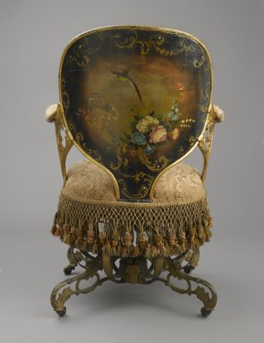 Thomas E. Warren (American, 1808-?). Centripital Spring Chair, ca. 1849-1858. Cast iron, wood, modern upholstery, modern trim, original fringe, 34 1/4 x 23 1/2 x 28 1/4 in. (87 x 59.7 x 71.8 cm). Brooklyn Museum, Designated Purchase Fund, 2009.27. Creative Commons-BY