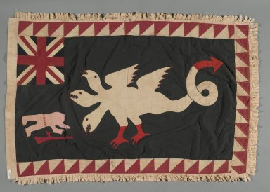 Fante. Asafo Company Flag (Frankaa), early to mid 20th century. Textile with appliqué and embroidery, 56 x 36 1/2 in. (142.2 x 92.7 cm). Brooklyn Museum, Designated Purchase Fund, 2009.39.1. Creative Commons-BY