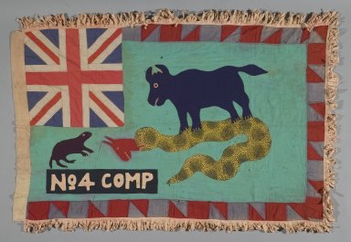 Fante. Asafo Company Flag (Frankaa), early to mid 20th century. Textile with appliqué and embroidery, 54 x 37 1/2 in. (137.2 x 95.3 cm). Brooklyn Museum, Designated Purchase Fund, 2009.39.2. Creative Commons-BY