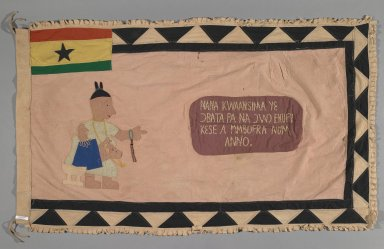 Fante. Flag of a Female Asafo Captain (Frankaa), late 20th century. Textile with appliqué and embroidery, 56 3/4 x 35 in. (144.1 x 88.9 cm). Brooklyn Museum, Designated Purchase Fund, 2009.39.3. Creative Commons-BY
