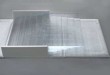 Kelly Driscoll. Fragments of Light 2, 2003. Glass, laser etched; ultrasuede binding, 2 x 25 x 10 in. (5.1 x 63.5 x 25.4 cm). Brooklyn Museum, Museum Expedition 1913-1914, Museum Collection Fund, by exchange, 2009.42a-i. Creative Commons-BY