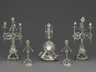 Brooklyn Museum: Clock, Part of a Five Piece Clock Garniture
