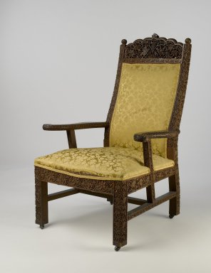 Lockwood de Forest (American, 1850-1932). Armchair, ca. 1895. Teak, old but not original textile, metal, 47 1/8 x 26 x 29 1/2 in. (119.7 x 66 x 74.9 cm). Brooklyn Museum, Gift of Lisa M. Price, by exchange and H. Randolph Lever Fund, 2009.72. Creative Commons-BY
