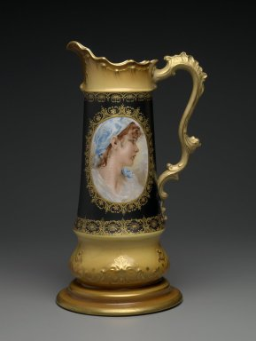 Knowles Taylor and Knowles (1870-1929). Pitcher, ca. 1905. Glazed semi-vitreous procelain, 27 x 9 x 7 5/8 in. (68.6 x 22.9 x 19.4 cm). Brooklyn Museum, Gift of the Estate of Mary Hayward Weir, by exchange, 2009.8. Creative Commons-BY