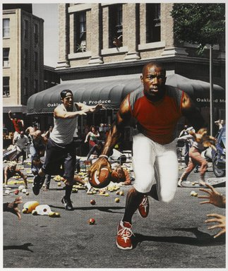 "Hank Willis Thomas (American, born 1976). The Liberation of T.O.: ""I'm not goin' back to work for massa' in dat darned field!"" 2003/2005, 2003/2005. Chromogenic photograph, Frame: 14 x 12 1/4 in. (35.5 x 31.1 cm). Brooklyn Museum, Mary Smith Dorward Fund and gift of Robert Smith, by exchange, 2010.18.36. © Hank Willis Thomas"