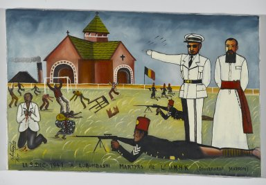 Tshibumba Kanda Matulu (Democratic Republic of the Congo, born 1947; active 1969-1981). The Martyrs of the Union Minière du Haut Katanga at the Stadium Formerly Called 'Albert I', now 'Mobutu', Kenia Township, Lubumbashi, ca. 1975. Oil on fabric