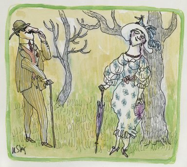 William Steig (American, 1907-2003). Untitled (Couple Exchanging Flirtatious Glances), n.d. Watercolor and ink on paper, Sheet: 9 1/2 x 11 1/4 in. (24.1 x 28.6 cm). Brooklyn Museum, Gift of Jeanne Steig, 2010.20.112. © Estate of William Steig