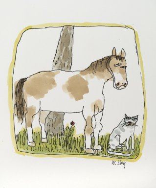 William Steig (American, 1907-2003). [Untitled] (Horse and Cat), n.d. Watercolor and ink on paper, Sheet: 11 1/16 x 9 13/16 in. (28.1 x 24.9 cm). Brooklyn Museum, Gift of Jeanne Steig, 2010.20.125. © Estate of William Steig