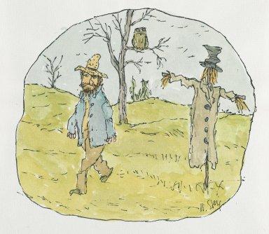 William Steig (American, 1907-2003). [Untitled] (Farmer and Scarecrow). Brooklyn Museum, Gift of Jeanne Steig, 2010.20.16. © Estate of William Steig