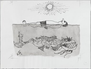 William Steig (American, 1907-2003). [Untitled] (Man and Scary Fish). Brooklyn Museum, Gift of Jeanne Steig, 2010.20.22. © Estate of William Steig