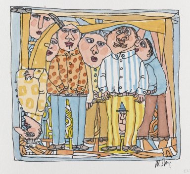 William Steig (American, 1907-2003). [Untitled] (Club). Brooklyn Museum, Gift of Jeanne Steig, 2010.20.36a-b. © Estate of William Steig