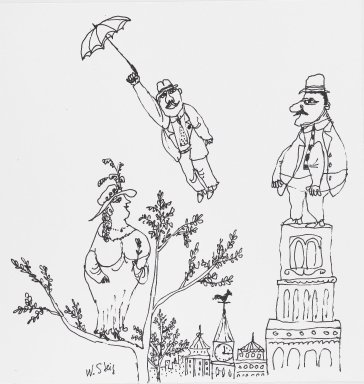 William Steig (American, 1907-2003). [Untitled] (Spring - Man with Umbrella/Woman on Tree/Man on Tower). Brooklyn Museum, Gift of Jeanne Steig, 2010.20.37. © Estate of William Steig