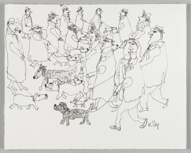 William Steig (American, 1907-2003). [Untitled] (Many Walkers). Brooklyn Museum, Gift of Jeanne Steig, 2010.20.49. © Estate of William Steig