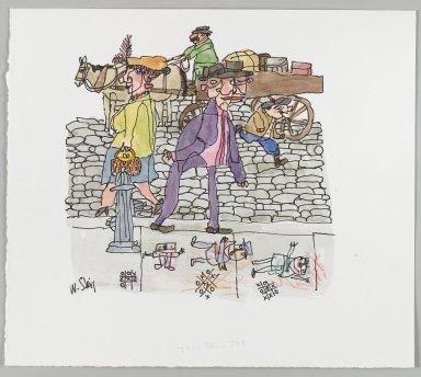 William Steig (American, 1907-2003). [Untitled] (Tic Tac Toe - Couple on Sidewalk, Boy and Wagon Driver). Brooklyn Museum, Gift of Jeanne Steig, 2010.20.51. © Estate of William Steig