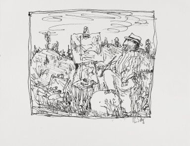 William Steig (American, 1907-2003). [Untitled] (Landscape Painter - Scribbly). Brooklyn Museum, Gift of Jeanne Steig, 2010.20.62. © Estate of William Steig