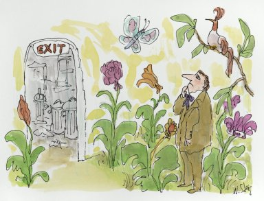 William Steig (American, 1907-2003). Untitled (Man Contemplating Exit from Garden), n.d. Watercolor and ink on paper, Sheet: 9 13/16 x 10 15/16 in. (24.9 x 27.8 cm). Brooklyn Museum, Gift of Jeanne Steig, 2010.20.66. © Estate of William Steig