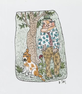 William Steig (American, 1907-2003). [Untitled] (Man with Tree and Dog). Brooklyn Museum, Gift of Jeanne Steig, 2010.20.69. © Estate of William Steig