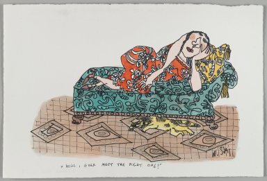 William Steig (American, 1907-2003). [Untitled] (Will I Ever Meet the Right One? - Woman on Divan). Brooklyn Museum, Gift of Jeanne Steig, 2010.20.73. © Estate of William Steig