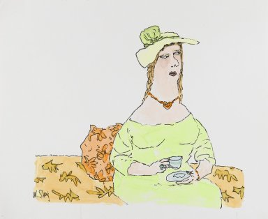 William Steig (American, 1907-2003). [Untitled] (Woman with Teacup). Brooklyn Museum, Gift of Jeanne Steig, 2010.20.75. © Estate of William Steig