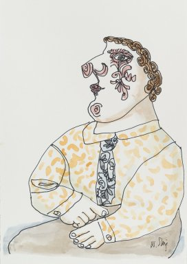 William Steig (American, 1907-2003). [Untitled] (Man with Decorative Face). Brooklyn Museum, Gift of Jeanne Steig, 2010.20.78. © Estate of William Steig