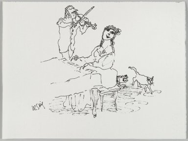 William Steig (American, 1907-2003). [Untitled] (Piano and Violin). Brooklyn Museum, Gift of Jeanne Steig, 2010.20.82. © Estate of William Steig